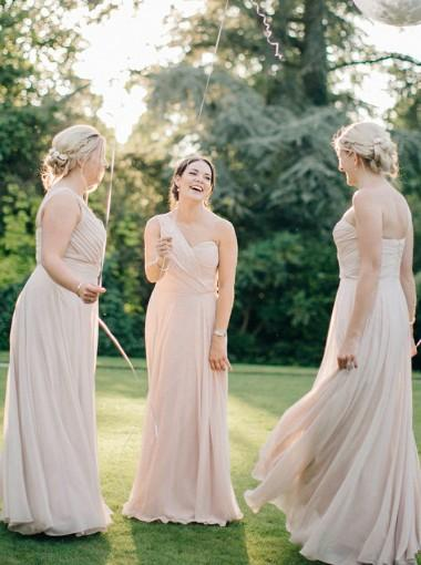 One Shoulder Chiffon Long Cheap Champagne Bridesmaid Dresses Online, WG273