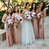 Mismatched Rose Gold Sequin Mermaid Long Cheap Bridesmaid Dresses Online, WG325