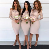 Long Sleeves Lace Mermaid Short Bridesmaid Dresses, WG102