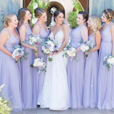 V Neck Lilac Chiffon Cheap Long Bridesmaid Dresses Online, WG360