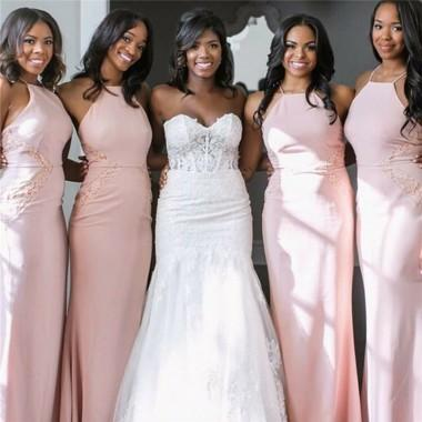 Halter Blush Pink Mermaid Cheap Long Bridesmaid Dresses Online, WG362