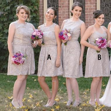 Mismatched Sparkly Grey Lace Cheap Short Bridesmaid Dresses Online, WG364