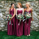 Mismatched Purple Custom Cheap Long Bridesmaid Dresses Online, WG369