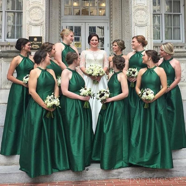 Simple Halter Green Cheap Long Bridesmaid Dresses Online, WG245