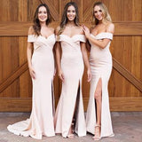 Off Shoulder Side Slit Mermaid Cheap Long Bridesmaid Dresses, WG1299
