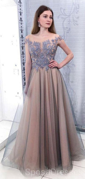 Cap Sleeves Scoop Dusty Blue Lace Grey Evening Prom Dresses, Cheap Custom Sweet 16 Dresses, 18483