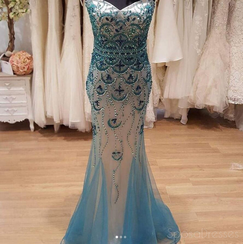 Blue Strapless Sweetheart Neckline Delicate Beading Mermaid Long Evening Prom Dresses, Popular Cheap Long 2018 Party Prom Dresses, 17295