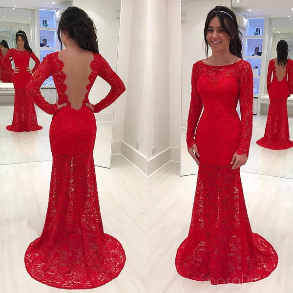 Sexy Backless Red Long Sleeve Lace Mermaid Evening Prom Dresses, Popular Party Prom Dresses, Custom Long Prom Dresses, Cheap Formal Prom Dresses, 17164