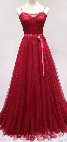 Spaghetti Straps Red Lace Long Evening Prom Dresses, Cheap Custom Party Prom Dresses, 18601