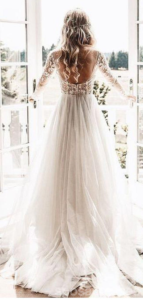 Long Sleeves See Through Cheap Wedding Dresses Sexy Backless A Line B Sposadresses