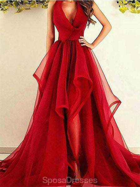 Halter Red Side Slit Ruffles Long Cheap Evening Prom Dresses, Evening Party Prom Dresses, 12343