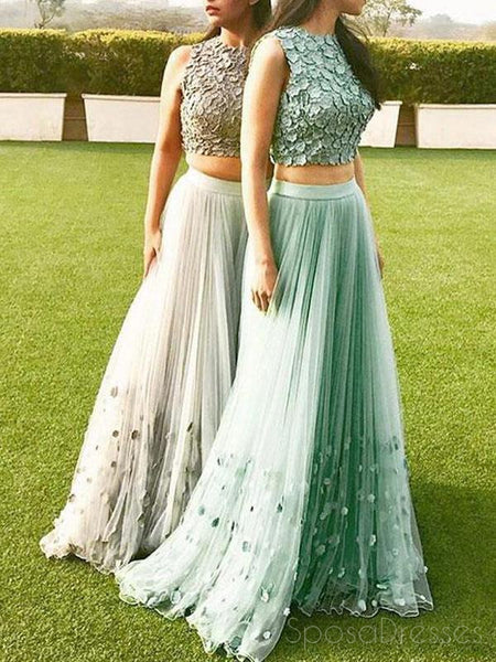 Two Pieces High Neck Lace Custom Long Evening Prom Dresses, 17480
