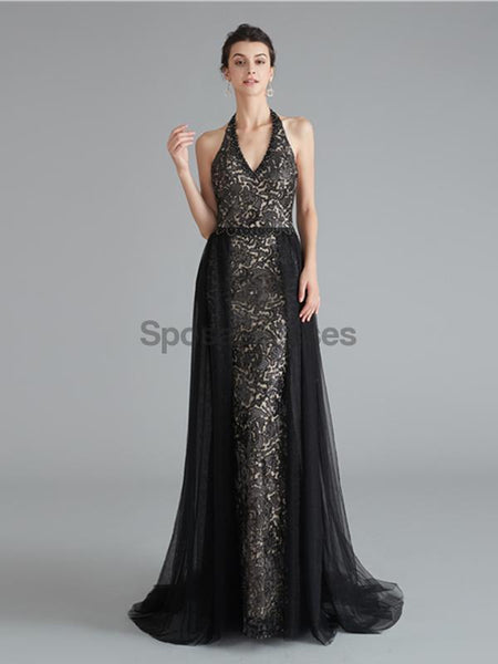 Sexy Halter Black Mermaid Lace Evening Prom Dresses, Evening Party Prom Dresses, 12124