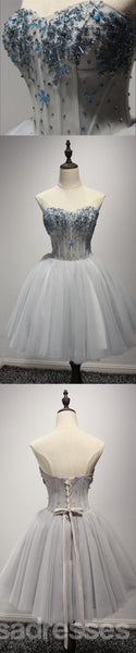 Strapless Grey Beaded See Through Homecoming Prom Dresses, Affordable Short Party Corset Back Prom Dresses, Perfect Homecoming Dresses, CM224