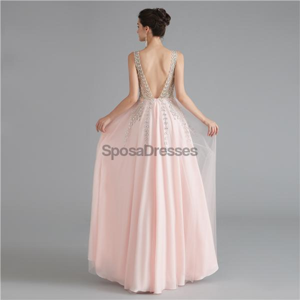 V Neck Chiffon Heavily Beaded Pink Evening Prom Dresses, Evening Party Prom Dresses, 12122