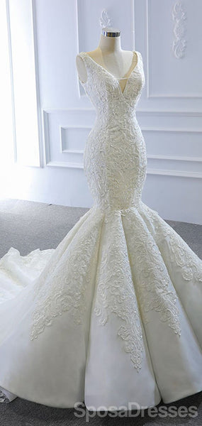 V Neck Lace Mermaid Wedding Dresses, Cheap Wedding Gown, WD716