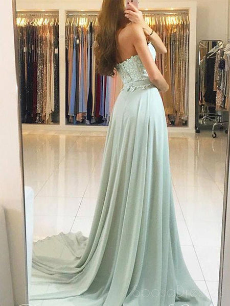 2018 Sweetheart Green Chiffon Lace Floor Length Custom Long Evening Prom Dresses, 17367