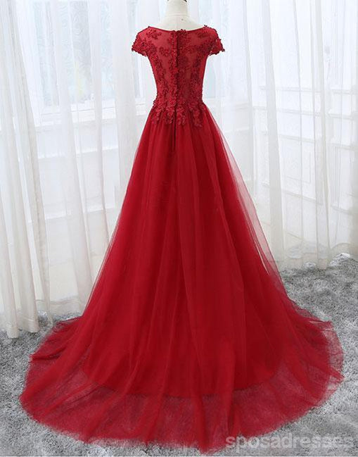 Red Lace Cap Sleeve V Neckline Sexy See Through Long Evening Prom Dresses, Popular Cheap Long Custom Party Prom Dresses, 17335