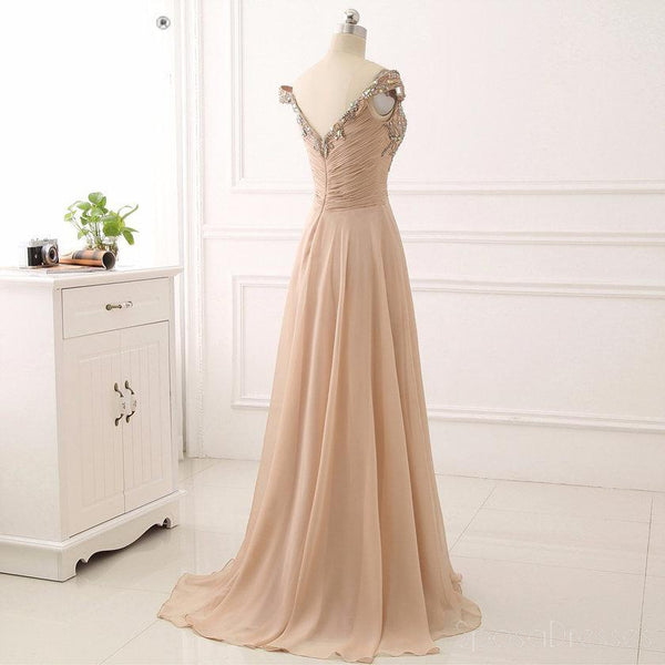 Off Shoulder Delicate Beading Long Custom Evening Prom Dresses, 17426
