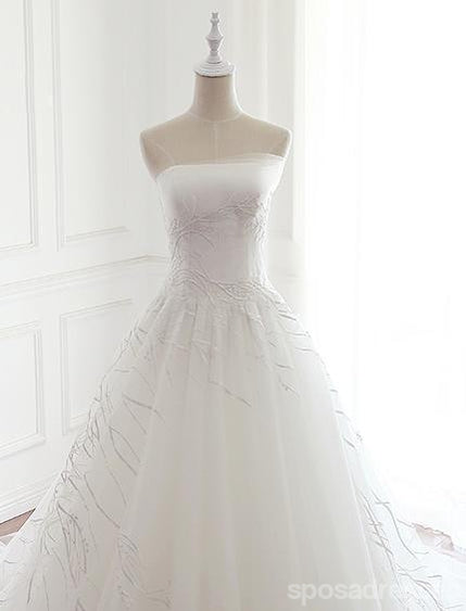 Strapless Simple Lace A line Wedding Bridal Dresses, Custom Made Wedding Dresses, Affordable Wedding Bridal Gowns, WD259