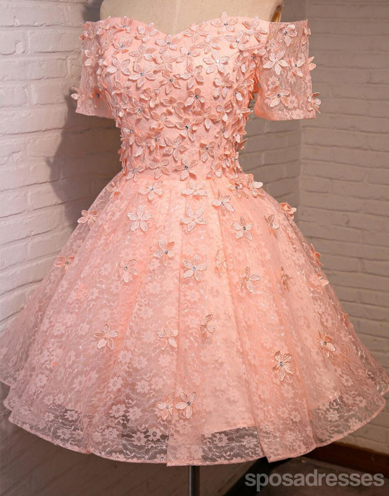 Off Shoulder  Short Sleeve Peach Lace Beaded Homecoming Prom Dresses, Affordable Short Party Prom Dresses, Perfect Homecoming Dresses, CM294