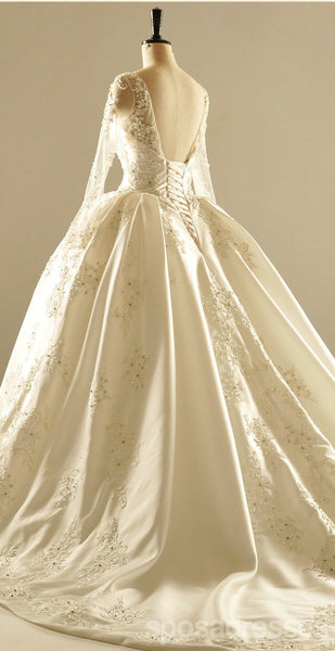 Long Sleeve V Neckline Lace Long Tail Wedding Dresses, Custom Made Wedding Dresses, Cheap Wedding Bridal Gowns, WD221