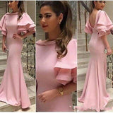 Pink  Puff Sleeve Long Evening Prom Dress, Popular Custom Party Prom Dresses, Custom Long Prom Dresses, Cheap Formal Prom Dresses, 17165