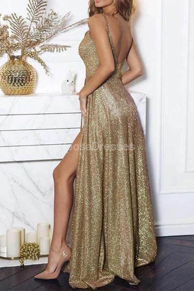 Sexy Side Slit Sequin Cheap Long Evening Prom Dresses, Evening Party Prom Dresses, 12310
