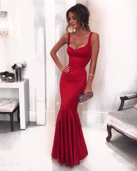 Sexy Low Neck Dark Red Mermaid Long Custom Evening Prom Dresses, 17430