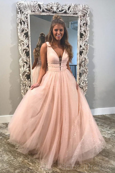 Blush Pink V Neck Straps A-line Sparkly Tulle Long Evening Prom Dresses, 17562