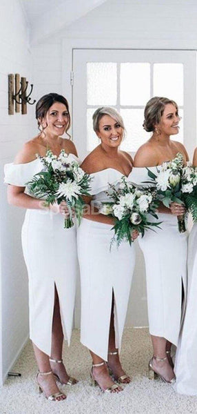 Short Off Shoulder Side Slit Bridesmaid Dresses Online, Cheap Bridesmaids Dresses, WG706