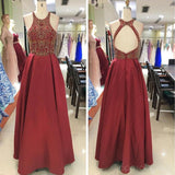 Sexy Open Back Halter Gold Beading Dark Red Long Evening Prom Dresses, Popular Cheap Long 2018 Party Prom Dresses, 17296
