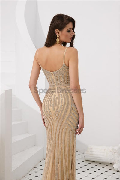 Spaghetti Straps Grey Beaded Mermaid Evening Prom Dresses, Evening Party Prom Dresses, 12084