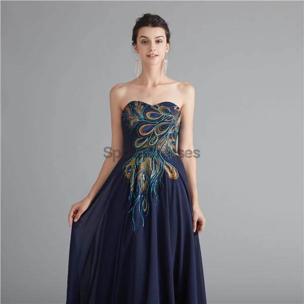 Navy Sweetheart Embroidery Cheap Long Evening Prom Dresses, Evening Party Prom Dresses, 12123