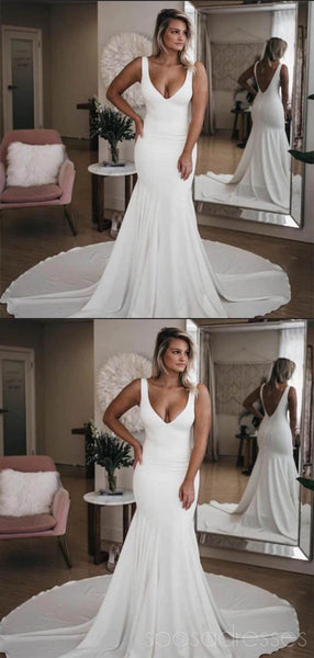 Simple Backless Sexy Cheap Mermaid Wedding Dresses Online, Cheap Bridal Dresses, WD481