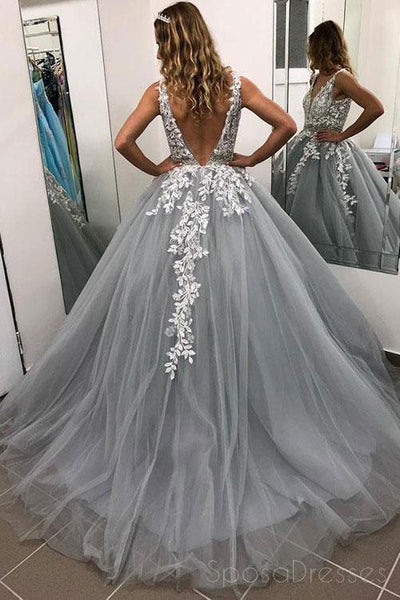 V Neck Grey Lace Ball Gown Long Evening Prom Dresses, Cheap Custom Party Prom Dresses, 18582