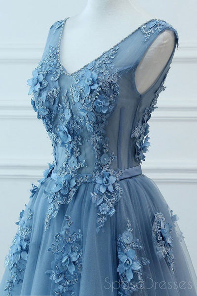 V Neck Dusty Blue Lace Beaded Long Evening Prom Dresses, Cheap Custom Party Prom Dresses, 18585