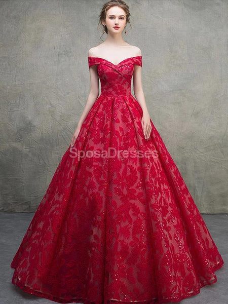 Red Off Shoulder Lace Ball Gown Long Evening Prom Dresses, Evening Party Prom Dresses, 12216