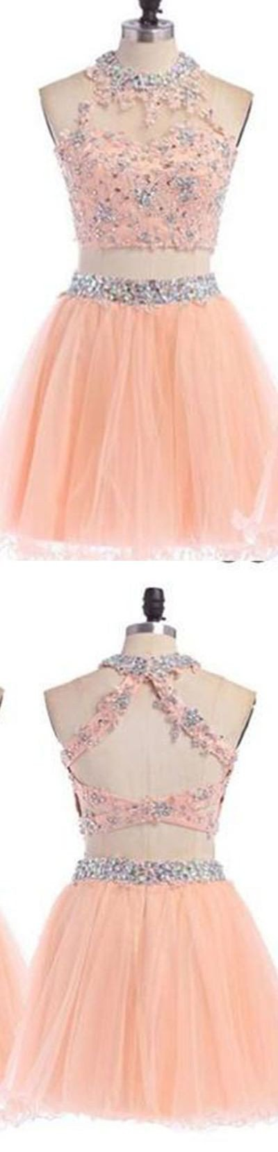 2016 Sexy Two pieces Peach lace homecoming prom dresses, CM0004