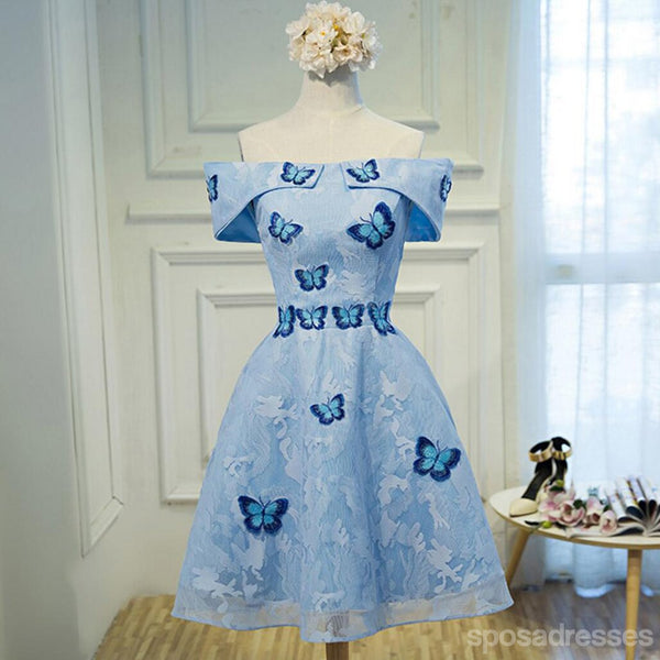 Blue Lace Off Shoulder Straight Neckline Butterfly Embroidery Tulle Short Homecoming Prom Dresses, Affordable Short Party Prom Sweet 16 Dresses, Perfect Homecoming Cocktail Dresses, CM362