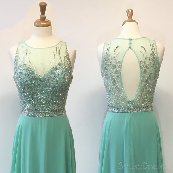 Sexy Open Back Mint Green Delicately Beaded Long Evening Prom Dresses, Popular Cheap Long Custom Party Prom Dresses, 17316