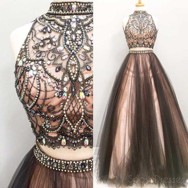 Sleeveless High Neck Long A line Prom Dresses , Two Pieces Prom Dress, Tulle Evening Prom Dress, Charming Prom Dress,Party Dresses, Evening Dresses,PD0048