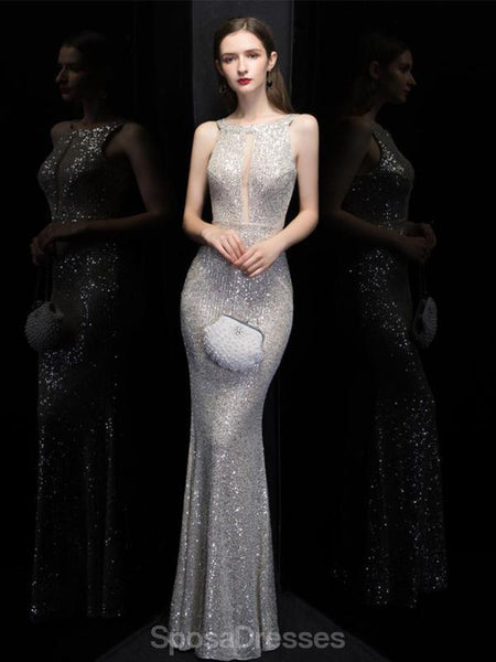 Sexy Mermaid V Neck Sequin Long Evening Prom Dresses, Evening Party Prom Dresses, 12321