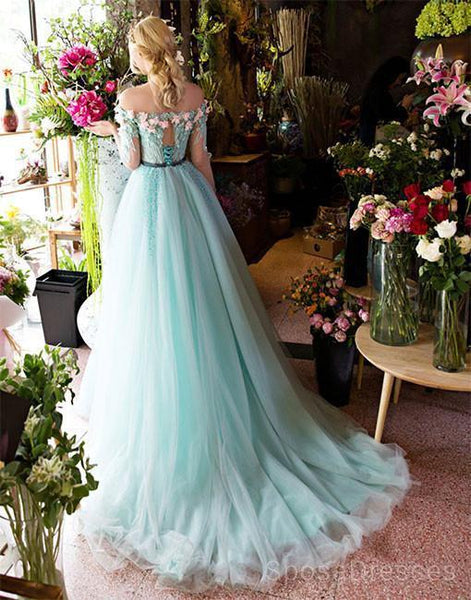 Green Off Shoulder Lace Beaded Evening Prom Dresses, Cheap Custom Sweet 16 Dresses, 18484