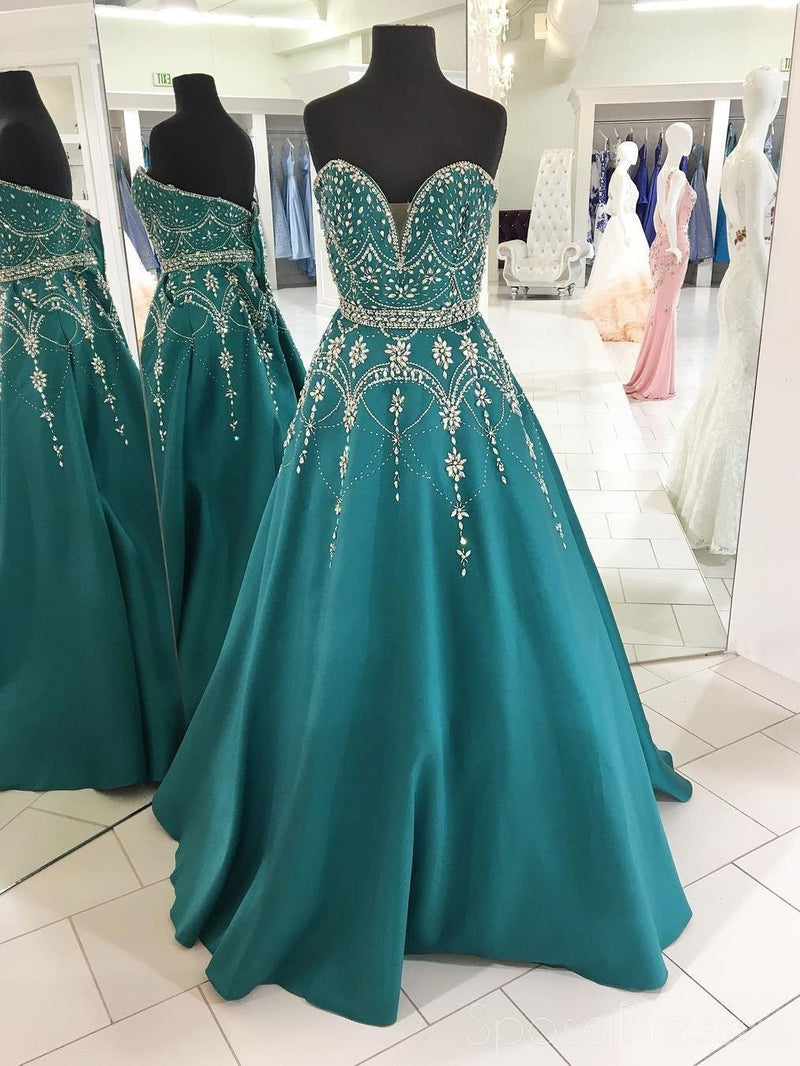 Sweetheart A-line Delicate Beading Green Long Evening Prom Dresses, 17544