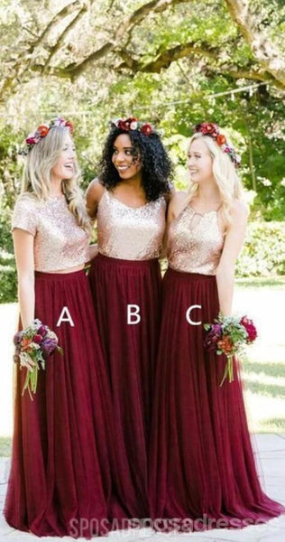 Short Sleeves Gold Sequin Burgundy A-line Long Bridesmaid Dresses, WG253