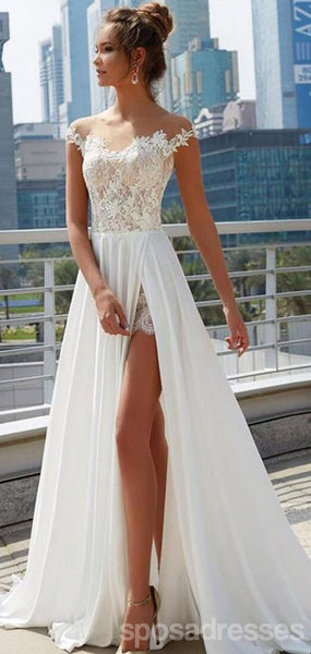 Off Shoulder See Through Cheap Wedding Dresses