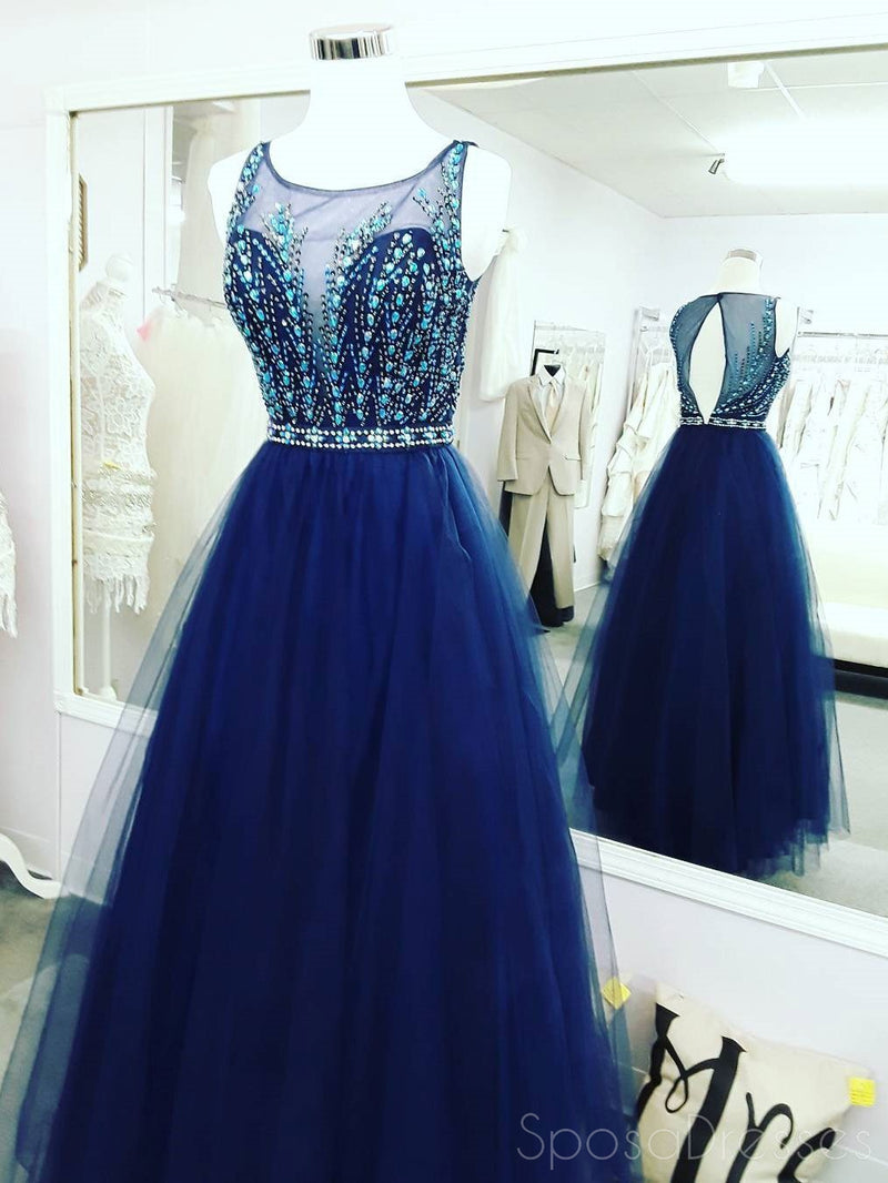 Sexy Open Back Royal Blue Delicate Beading Rhinestone A line Tulle Long Evening Prom Dresses, 17346