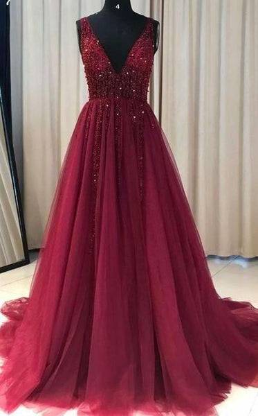 See Through V Neck Dark Red Beaded Long Evening Prom Dresses, Cheap Custom Party Prom Dresses, 18590