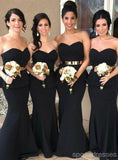 Sweetheart Black Mermaid Cheap Long Bridesmaid Dresses Online, WG244